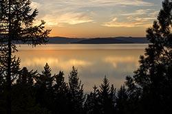 Lake house sunset Flathead Lake Fall Aerial