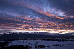 Colorful Sunset over Columbia Range Whitefish Stage Winter Aerial