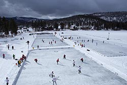 Pond Hockey Classic Kalispell, MT Winter Aerial