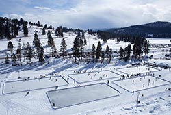 Foys Lake Pond Hockey Classic Kalispell, MT Winter Aerial