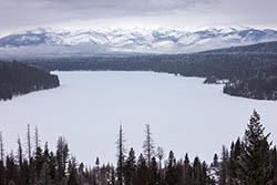 Holland Lake, Mission Mountains Holland Lake Winter Aerial