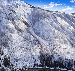 Avalanche path on The North Fork of the Flathead River North Fork Flathead Winter Aerial