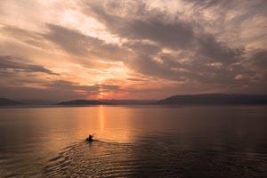 Kayak Sunset over Flathead Lake