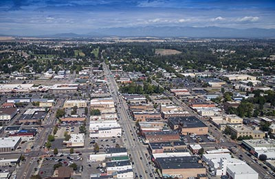 Aerial Shot of Kalispell, Montana