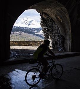 Biking through a tunnel