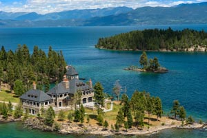 Aerial View of Flathead Lake Shelter Island Castle
