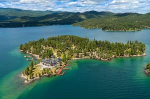 Aerial view of Shelter Island, Flathead Lake