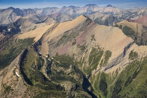 Aerial View of Peaks of Glacier Park