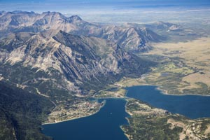 Aerial View of Waterton Lake