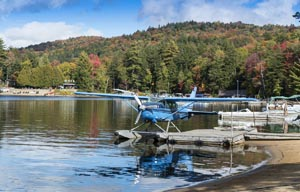 Float plane on Long Lake in the Adirondack's