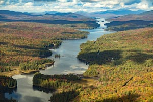 Aerial View Long Lake in the Adirondack's