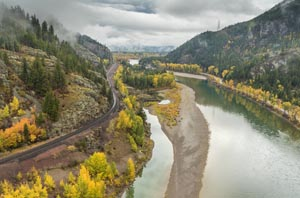 Badrock Flathead River and BNSF Tracks