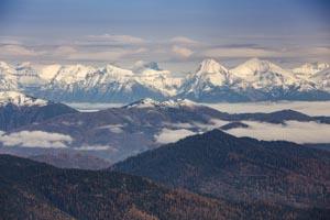 Aerial View of Glacier Park Peaks
