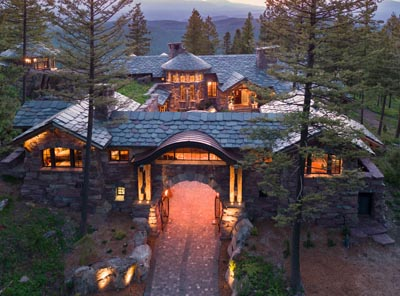 Aerial Twilight Shot of Great Northern Lodge