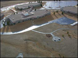 Back side of FCVB Kalispell, MT Winter Aerial