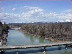 Camas Bridge Glacier Park Spring Aerial
