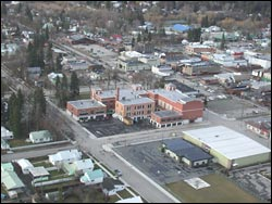 Whitefish school and downtown Whitefish, MT Spring Aerial