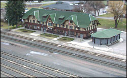 Whitefish Train Depot Whitefish, MT Spring Aerial