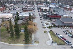 Downtown Whitefish Whitefish, MT Spring Aerial