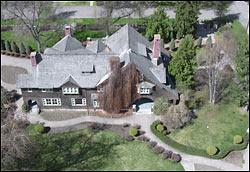 Conrad Mansion in the spring Kalispell, MT Spring Aerial