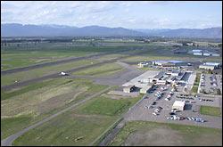 Glacier Airport Kalispell, MT Spring Aerial