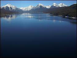Lake McDonald (heli shot) Glacier Park Winter Aerial