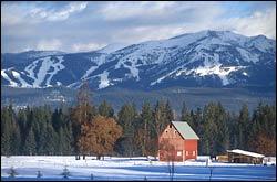Barn and Big Mountain Flathead Valley Winter Landscape