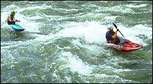 Duo Surfing Alberton Gorge Winter Kayaking