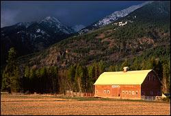 Mountain side barn Lake Blaine Spring Landscape