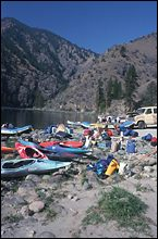 Packing for the first day Salmon River Fall Rafting